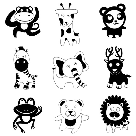 panda bear: wild animal set (black version) Illustration