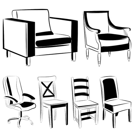 retro furniture: furniture set (black version)