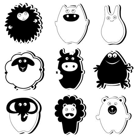 cute animals (black version) Vector