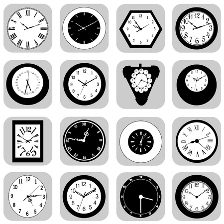 old watch: wall clock set Illustration