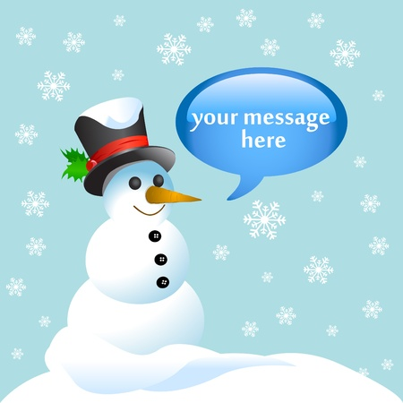 snowman wood: snowman with sign message Illustration