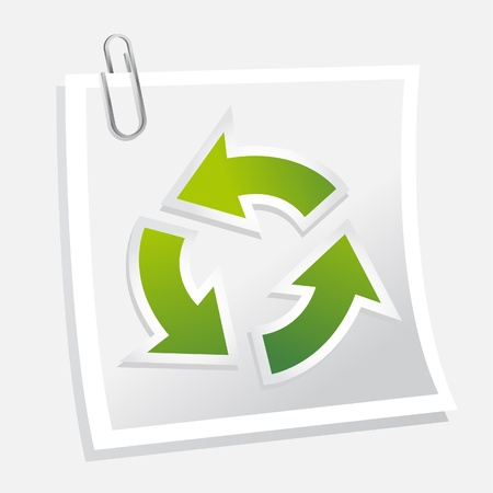 life cycle: Recycle symbol with note
