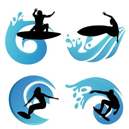 surf silhouettes: simboli surf Vettoriali