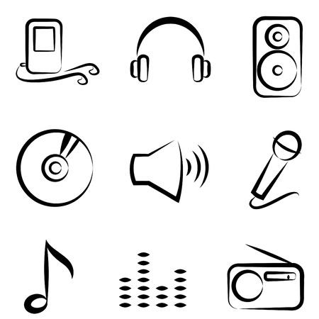 radio telephone: technology icons Illustration