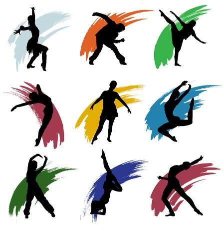 dance music: motion mensen Stock Illustratie