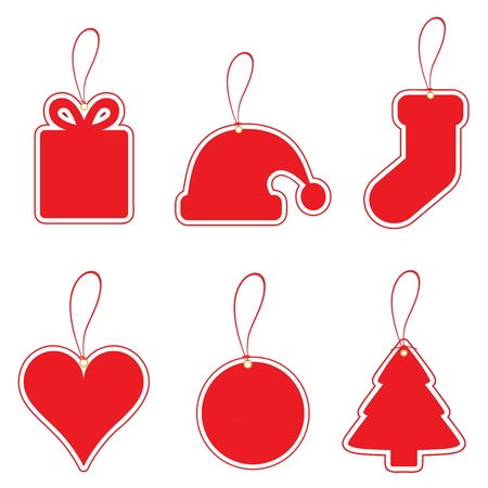 red price tag: christmas label set