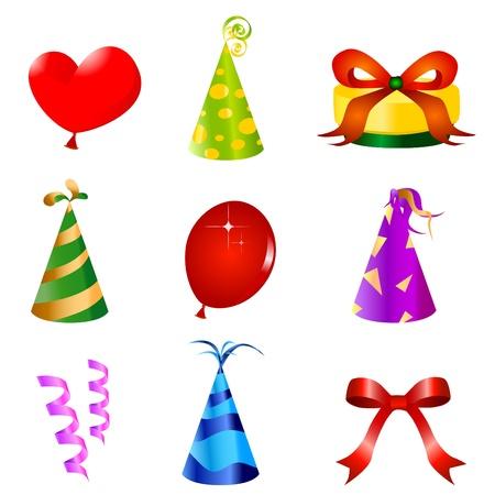 gorros de fiesta: elementos de dise�o de cumplea�os Vectores