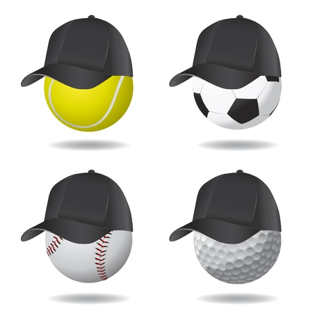 sport ball with hat (soccer, tennis, golf and baseball) Vector