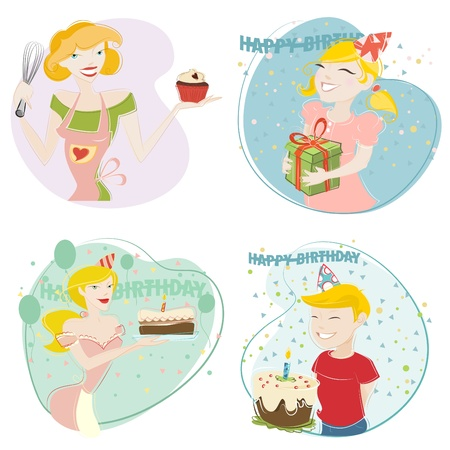 giving gift: birthday and cake
