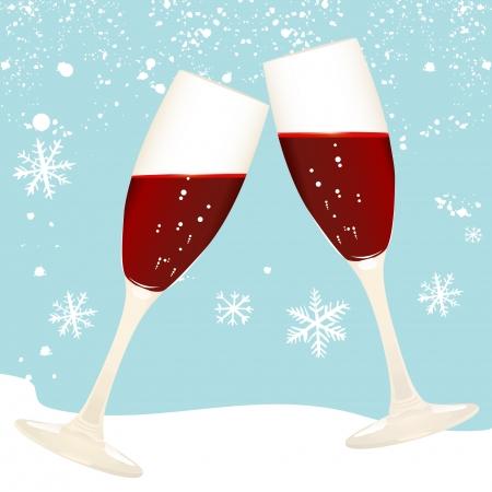happy hours: verre de vin des toasts Illustration