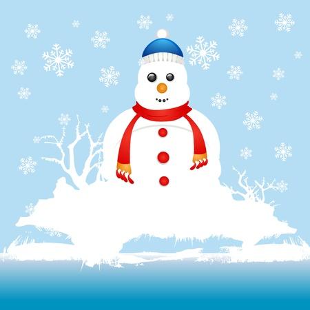 snow field: snowman character Illustration