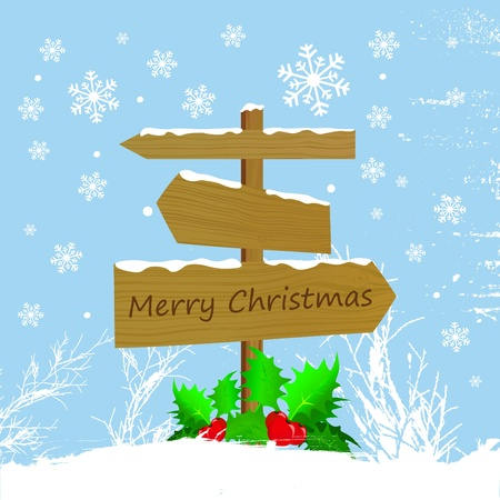 wood sign with christmas message Vector