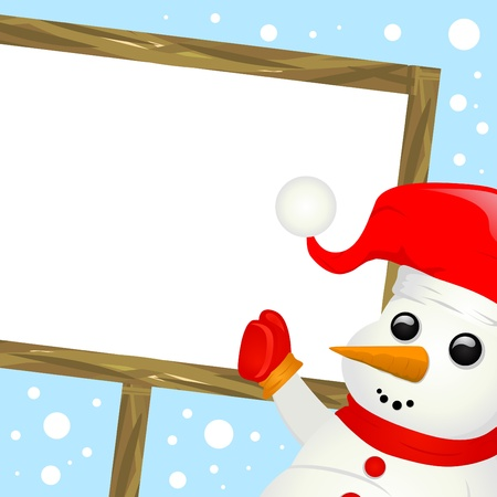 snowman with message sign  Vector