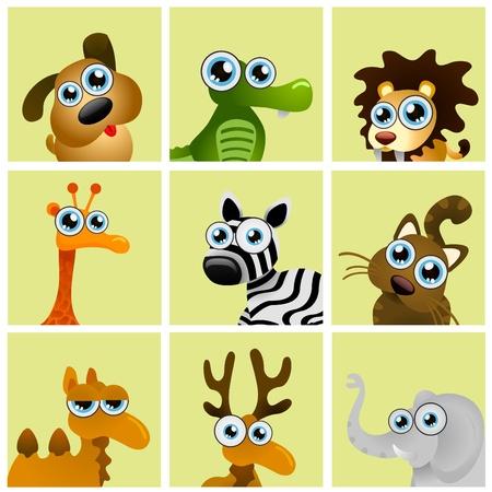 zebra heads: cartoon animals vector Illustration