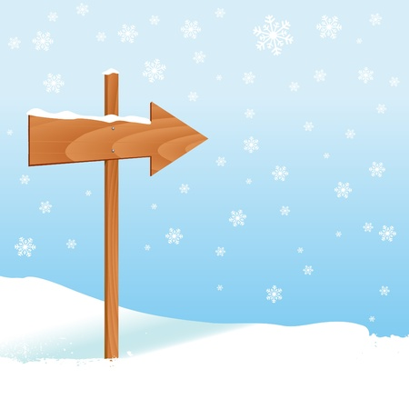 direction sign with winter landscape Ilustração