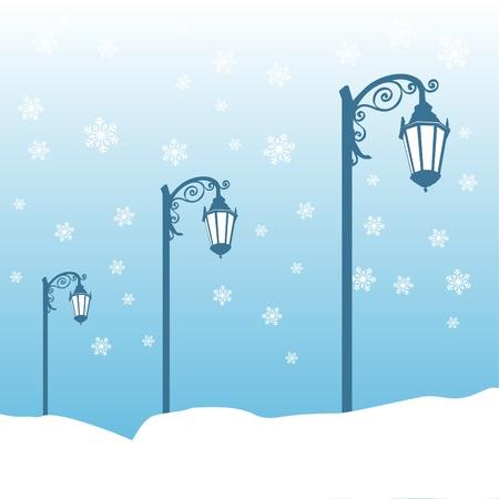 уличный фонарь: уличный фонарь зимой Иллюстрация