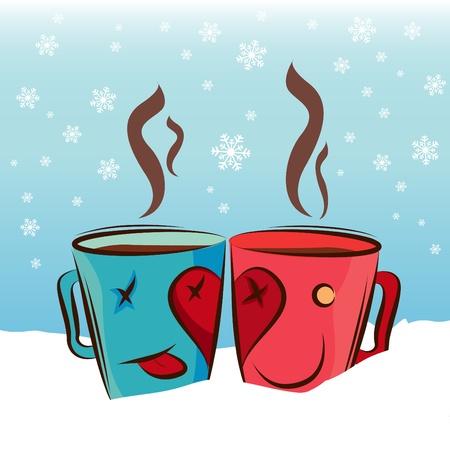 chocolat chaud: tasse de caf� mignons Illustration
