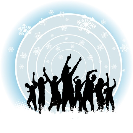 club dancer: party people and winter background