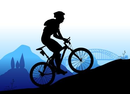 andando en bicicleta: Ciclismo de monta�a Vectores