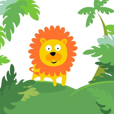 lion in forest Vector