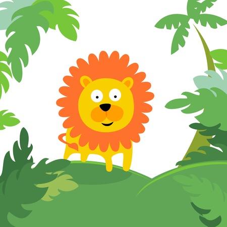 jungle background: lion in forest Illustration