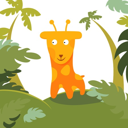 giraffe in forest Vector