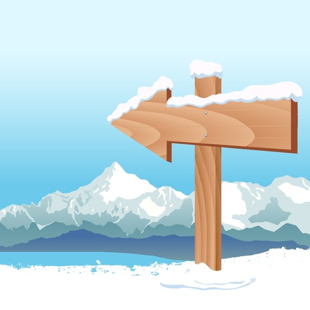 wooden post: direction sign with winter landscape Illustration