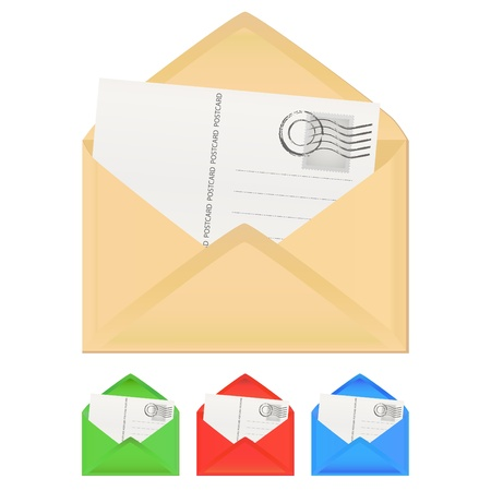 sobres para carta: carta con la tarjeta Vectores