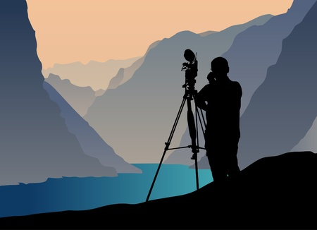 taking picture: photographer shooting at sunset