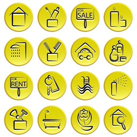 washbowl: real estate home icon set