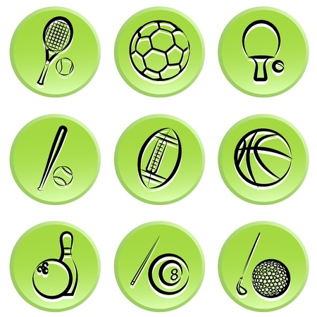 sport items icon set Vector