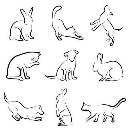 dessin au trait: chien, chat, lapin, animaux de dessin vectoriel Illustration