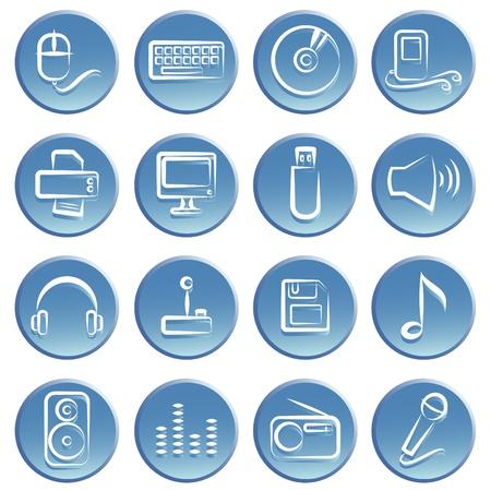 printer drawing: electronic item icon set  Illustration