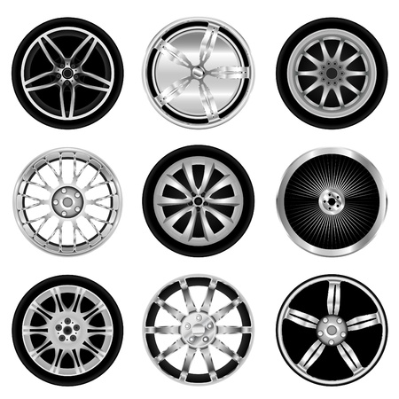 spoke: sporty aluminum wheel vector Illustration