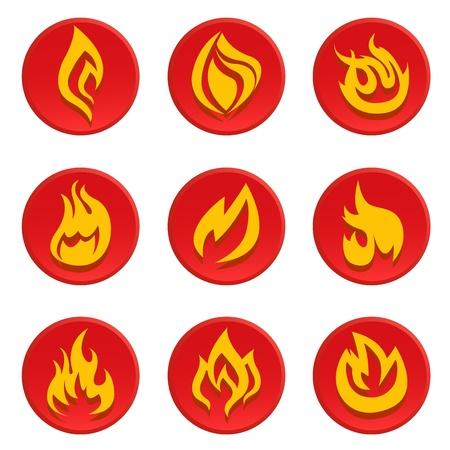 arson: fire icon set