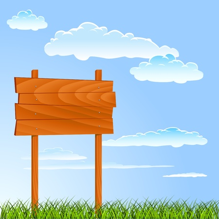 wild grass: cartel de madera con fondo de verano Vectores