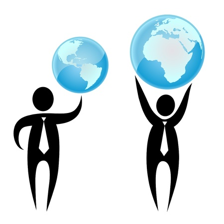 hands holding earth: Businessman holding a globe