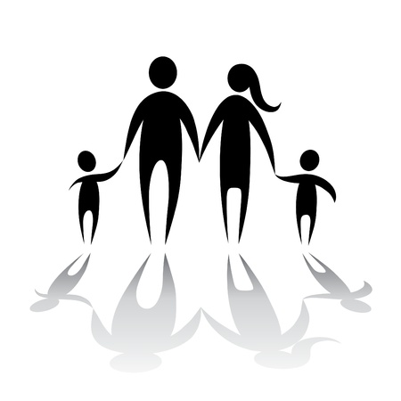famiglia numerosa: famiglia simbolo vettoriale