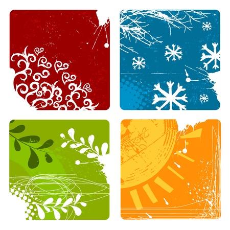 seasons: de natuur achtergronden Stock Illustratie