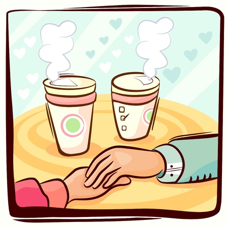couple hand and coffee Vector