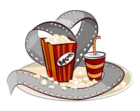 popcorn, drink and film roll vector Illustration