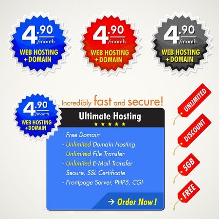 web hosting: web elements for hosting Illustration