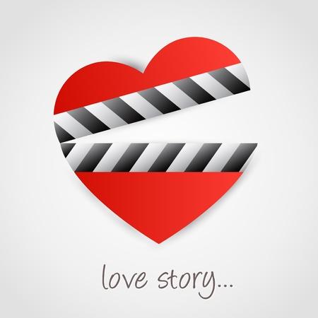 Clapper board with heart symbol. Love concept design. Stock Vector - 11930110