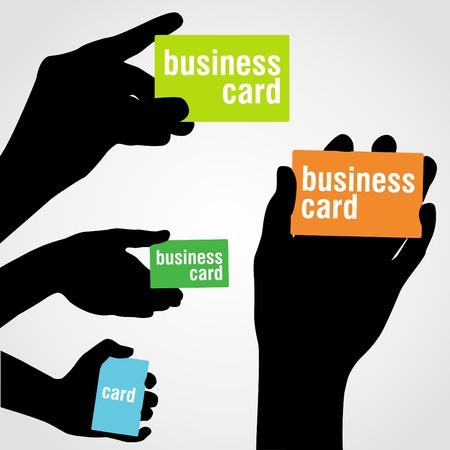 hand business card: Mano che regge bianco business card Vettoriali