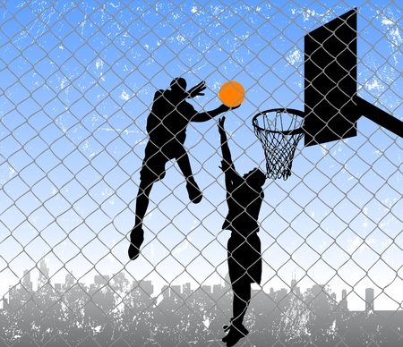 basketball in the street Illustration