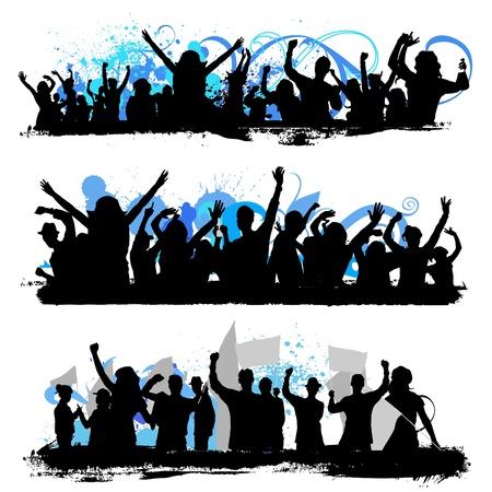 foule mains: silhouettes foule Illustration