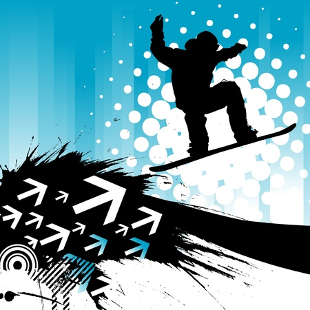 snowboarder jumping: snowboarding background Illustration