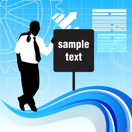 businessman with message sign Vector
