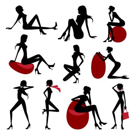 Fashion model silhouette set