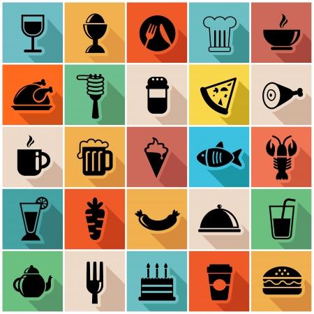 Ilustración vectorial conjunto de iconos de los alimentos de colores en el diseño moderno apartamento